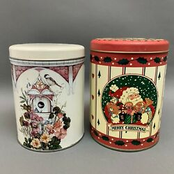 Empty Tin Cans Santa Merry Christmas Bird Cage Flowers Lot Of 2