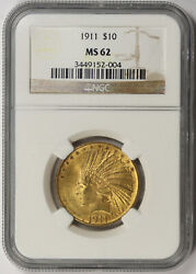 1911 Indian Head Eagle Gold 10 Ms 62 Ngc