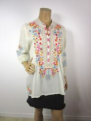 Johnny Was Bethanie Tunic Top Size M Heavy Embroidery 3/4 Sleeves Half Button