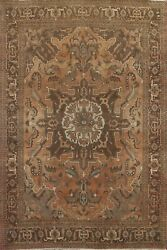 Antique Geometric Heriz Evenly Low Pile Hand-knotted Area Rug Wool Oriental 8x11