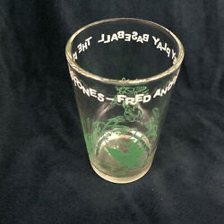 Welchand039s Vintage Jelly Glass The Flintstones Fred And Barney Play Baseball Green