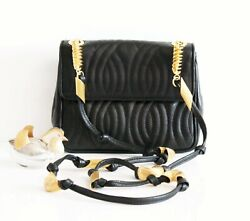 Auth Fendi Italy Pasta Quilted Black Leather Shoulder Mini Hand Bag