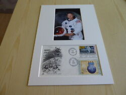 Neil Armstrong Apollo 11 Mounted Photograph And 1969 Usa Fdc Moon Landing Space