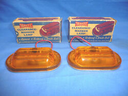 Pair Of Nos Vintage Yankee 79 Amber Clearance Maker Lamps 12v Ct1