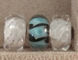 3 New Trollbeads Glass Beads White Waters Event Unique Blue/black Long Swirls