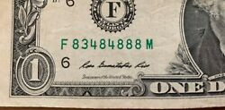 1 Dollar Bill 2009 Circulated Worn Lots Of Eights Serial Number F 8 34 8 4 888m