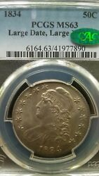 1834 O.102 Large Date/large Letters Capped Bust Half Dollar Pcgs Ms63 Cac