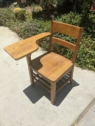 Beautiful Vintage Student Solid Wood Oak School Desk And Attached Chair Antique