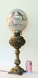 Rare Antique Victorian Electrified Oil Parlor Lamp W/ Handpainted Courting Scene