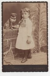 Adorable 1890s Cabinet Photo Of Girl And Her Pug Dog Who Look Alike New York