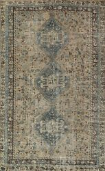 Antique Muted Geometric Abadeh Hand-knotted Area Rug Wool Oriental 6and039x10and039 Carpet
