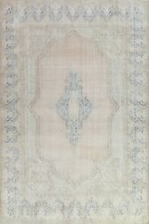 Antique Muted Kirman Distressed Area Rug Wool Evenly Low Pile Hand-knotted 10x13