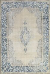 Antique Muted Kirman Distressed Area Rug Evenly Low Pile Oriental Handmade 8x11