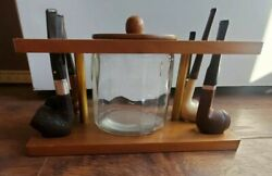 Vintage Wood Pipe Stand With Glass Jar Humidor And 6 Pipes , Wooden Rack.
