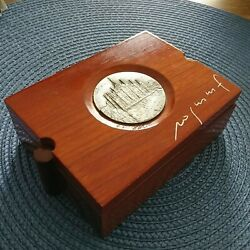Artist Franco Rognoni Collector Trinket Wood Coin Box With Medallion Of Castle