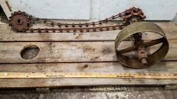 Antique Cast Iron Flat Belt Pulley And Chain Assy' Corn Grinder-burr Mill Engine