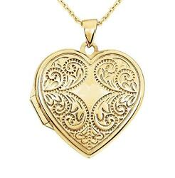 14k Yellow Gold Heart Locket Vintage Inspired Scroll Detail Holds 2 Pictures