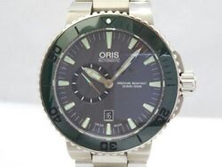 Oris Aquis Small Second Date 743 7673 4157 Automatic Gray Dial Stainless Men's