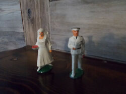 Rare Vintage Barclay Lead Toy Figures Military Medical Doctor And Nurse