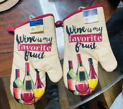 Home Collection Kitchen Oven Mitts Mittens Wine. Lot of 2. ASeller.