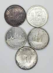Canada 1939 1949 1950 1958 1967 Silver 1.00 One Dollar Coins Lot Of 5