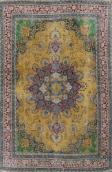 Antique Gold Tebriz Overdyed Hand-knotted Area Rug Wool Oriental 9x13 Ft Carpet
