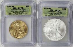 2 Coin Set 2006-w Burnished American Eagle Gold 50 And Silver 1 Sp 70 Icg Fs