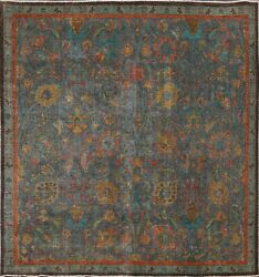 Antique Overdyed Floral Oriental Tebriz Area Rug Hand-knotted Wool Square 7x7 Ft