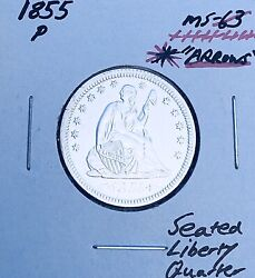 """1855-p """"arrows"""" Brilliant Uncirculated  Key Date Seated Liberty Quarter. A2"""