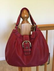 Rich Red Coach Soho Lynne Leather Handbag $398 15075 Excellent Condition $54.99
