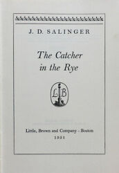 Salinger. Catcher In The Rye. Ny 1951. Stated First Edition. No Dj