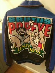 Maziar Gallery Rare Collectable 90's Brutus Vs Popeye Blue/black Leather Jacket
