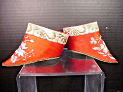 Chinese Silk Lotus Shoes Red Hand Stitched