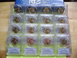 2007 Presidential Pandd Pcgs Ms66 First Day Issue Position Aandb 16-coin Dollar Set