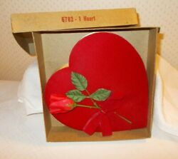 Vintage 6782 Heart Candy Box Red Velvet Red Rose Valentine's Day 9 Empty