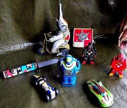 Schylling Tin Toy Lot. Wind-up, Friction, Wood. Robots, Race Cars, Misc.