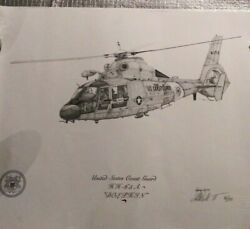 United States Coast Guard Hh65a Dolphin Helicopter. Robert Waltman Sketch