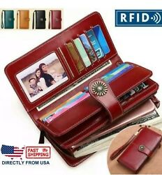 RFID Women Genuine Leather Long Hollow Out Wallet Money Card Holder Clutch Purse $20.99