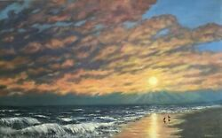 Sunrise In Myrtle Beach - Original Large Oil Painting On Canvas By K. Mcdermott