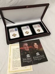Set Of 3 2017 5 Gold Eagle 1/10 Oz Signed All Ms70 First Day Of Issue Boxed Set