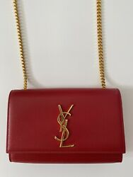 Yves Saint Laurent Classic Small Kate Chain Bag In Red Grain Leather
