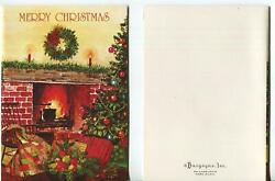 Vintage Christmas Country Charm Brick Fireplace Tree Kettle Quilt Greeting Card