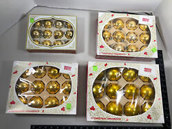 4 Boxes Of Vintage Gold Shiny Brite Ornaments In Boxes, 1960s, Estate Find
