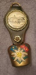 Vintage Cow Bell Brass Hand Painted Flowers Frankenmuth Michigan Leather Hanger