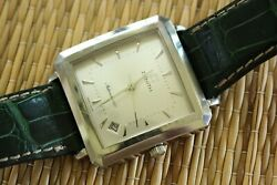 Original Zenith Elite Silver Date Dial Auto Automatic Watch In Hard Wood Box Set