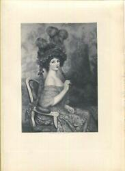 Antique Gorgeous Victorian Girl Eventail Fan Coiffure Feather Hat Hair Art Print