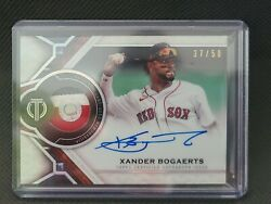 2021 Topps Tribute /50 Xander Bogaerts Auto Patch Card 3 Color Red Sox Mlb Auth