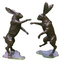 Bronze Boxing Hares Life Size Pair Of Hot Cast Boxing Hares Bronze Hare Pair