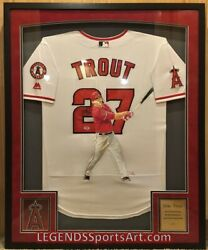 Mike Trout Los Angeles Angels Hand Painted Autographed Jersey 1/1 Framed