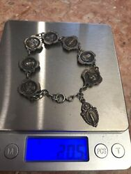 Vintage Sterling Silver Bracelet Of Mary Religious Theme 20.5 G